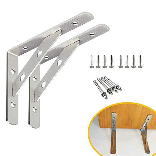 Heavy Duty Shelf Bracket,Pair Stainless Steel Solid Shelf Brackets,6