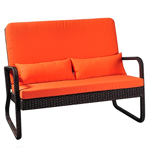 Outdoor Patio Loveseat Sofa All Weather Resin Wicker with Cushion( Brown Wicker& Orange Cushion)