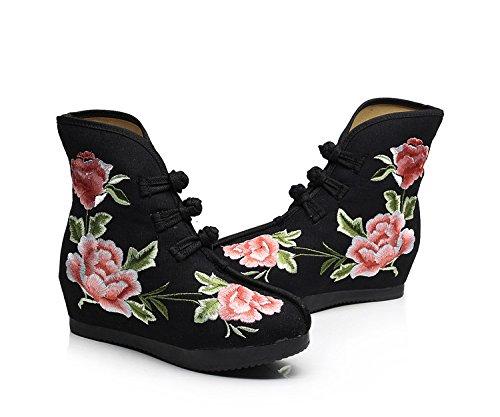KHSKX-Primavera Y Otoño Solo Botas Zapatos Bordados Viejo Beijing El Aumento En El Folk Estilo Retro Bordado Botas Botas Botas black