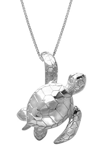 - Honolulu Jewelry Company Sterling Silver Turtle Honu Necklace Pendant with 18