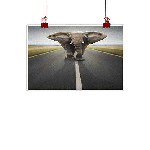 Wall Painting Prints Elephant,Wild Animal Mammal with Massive Ears Patrolling On Highway Conceptual Art, Cocoa Grey Black 36