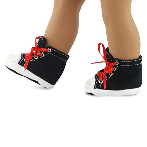 Emily Rose 18 Inch Doll Clothes/Clothing Black High Top Sneakers Fits American Girl Dolls (Brittany Doll)