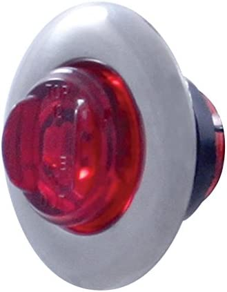 Red LED//Red Lens United Pacific 37143 2 LED Mini Clearance//Marker Light with Bezel