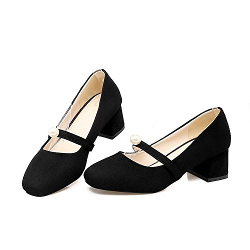 Balamasa Mujeres Beaded Chunky Heels Low-cut Uppers Square-toe Suede Bombas Zapatos Negro