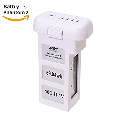 11.1 V 5400mAh Replacement LiPO Battery for DJI Phantom 2, Phantom 2 Vision, Vision+ (compatible with DJI all Phantom 2 series drones, Vision, Vision plus and Phantom 2 chargers)