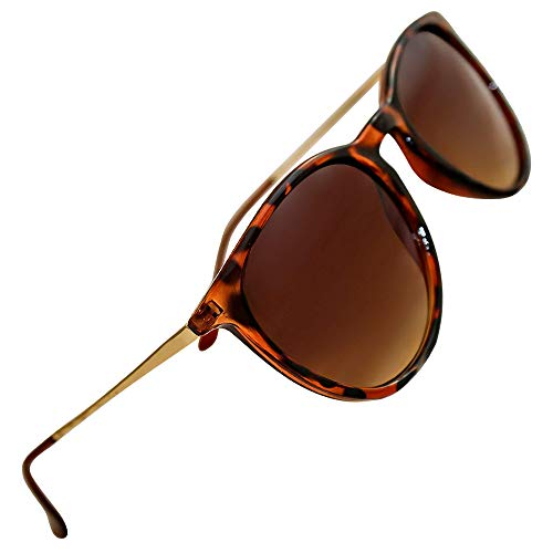 (Women's Polarized Sunglasses from EYE LOVE, Designer, 100% UV Block + 5 BONUSES, Brown)