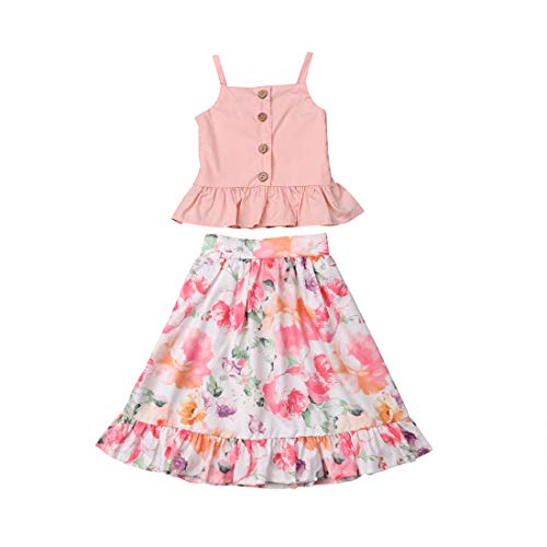 Toddler Baby Girls Camisole Buttons Shirt Top + Floral Ruffled Long Skirts Tutu Dress Outfit Set Summer Clothes (Pink, 5-6T) ()
