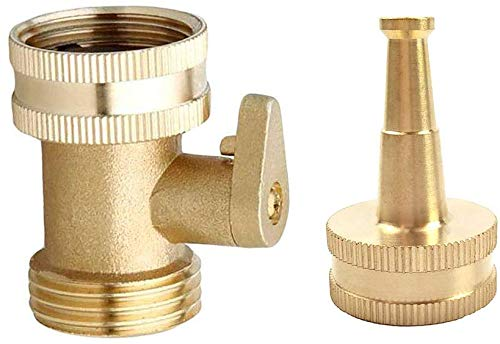 Heavy Duty Brass Jet Sweeper Sprayer Nozzle with Garden Hose Shut Off Valve Connectors