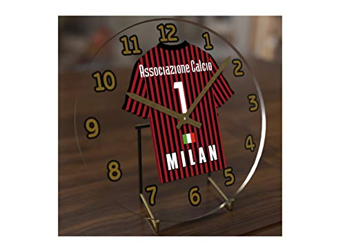 (FanPlastic UCL UEFA Champions League Desktop Clocks - Any Team Colours Available - Support Your Team !!! (AC Milan))