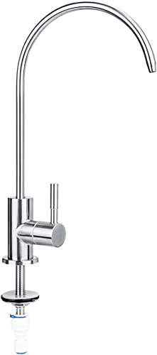Water Faucet, Lead-Free Beverage Faucet Water Filtration System Purifier filter Drinking Water Faucet 1 4-Inch Tube, Brushed Stainless Steel Upgrade-By E-Starlet