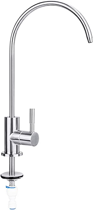 Water Faucet, Lead-Free Beverage Faucet Water Filtration System Purifier filter Drinking Water Faucet, 1/4-Inch Tube, Brushed Stainless Steel,Upgrade-By E-Starlet