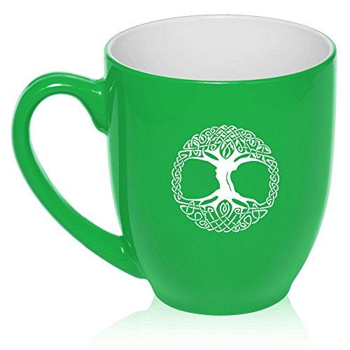 16 oz Large Bistro Mug Ceramic Coffee Tea Glass Cup Celtic Tree Of Life Irish (Green)