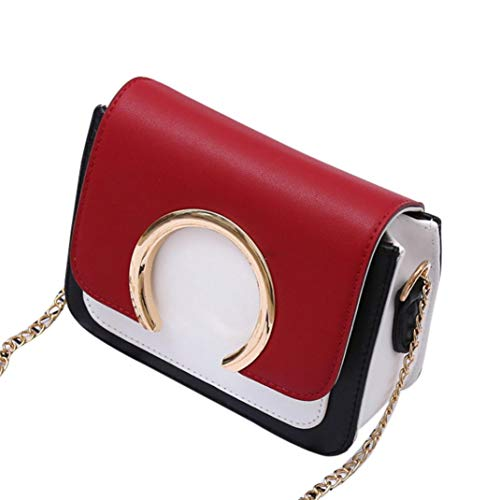 Bag Bags Decoration Fashion RED Chain Ring Women's Bafaretk Crossbody Patchwork Shoulder zwApqYxBn