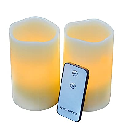 "Set of 2 3""x5"" LED Flameless Candles, Yellow Flame- Unscented Real Wax Ivory, Battery Operated Candles with Remote On/Off, Flickering Faux Pillar Candles Light By JIAJIA Spring"