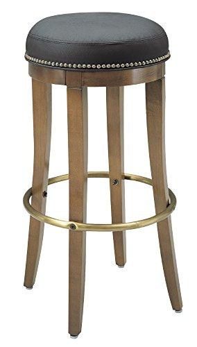 AC Furniture 1105 Bar Stool, Metal Foot Rest, Vinyl Upholstered Seat with Brass Nail Trim, Shown in Medium Lanty Oak Finish, 15