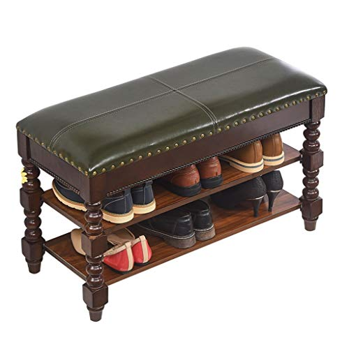 ZHAOYONGLI Stolls Storage Benches Solid Wood Shoes Bench Wear Shoes Stool Storage Bench Sofa Bench Bench Shoe Rack Porch Entrance Shoe Rack Stool (Color : Olive Green car line, Size : 803548cm)