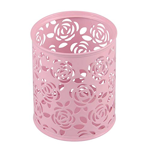 (Coolrunner Metal Rose Flower Hollow Pen Pencil Pot Cylinder Container Makeup Cosmetic Brushes Holder Organizer (Pink))