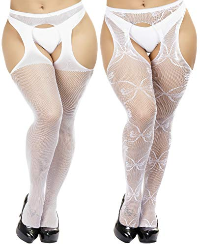 TGD Womens Plus Size Stockings Suspender Pantyhose Fishnet Tights Fashion Thigh High Stocking 2 Pairs (White 3053)