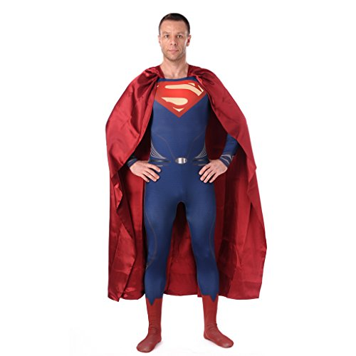 [CosplayDiy Adult Costume Superman Zentai Super Suit with Cape XL] (Bodysuit Superman Adult Costumes)