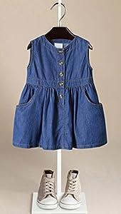 ZANDZ Little Girls Cotton Sleeveless Button Pocket Plaid Casual Summer Dress(Blue,2T-3T)