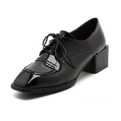 Judy Bacon Women's Square Toe Oxford Loafer Shoes Patent Leather Lace Up Mid Heel School Dress Oxfords Pumps Black