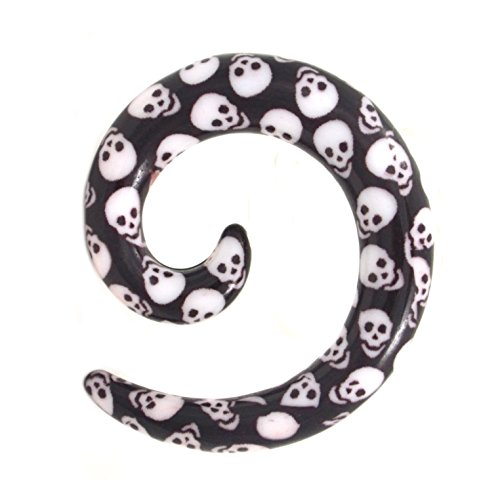 - Pair of Black and White All Over Skull Prints Spiral Ear Tapers Acrylic Expander Earrings - 0G 8MM