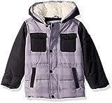 Ben Sherman Boys' Toddler Classic Bubble Jacket, Grey/Black, 3T