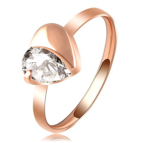 Evertrust (TM)LZESHINE Brand Love Ring Simple Gold/Rose Gold Plated Austrian Crystal Heart Ring SWA Elements Wedding Rings Ri-HQ1080 by EverTrust