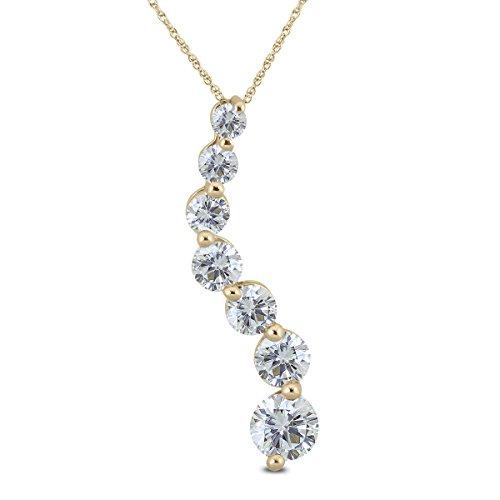 Pendant Diamond 1 Carat Journey - AGS Certified 1 Carat TW Diamond Journey Pendant in 14K Yellow Gold