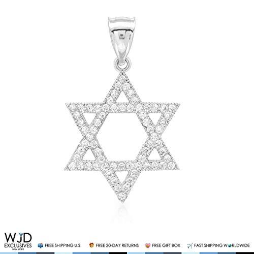 1Ct CZ David's Star Religious Charm Pendant 14k White Gold 1.2
