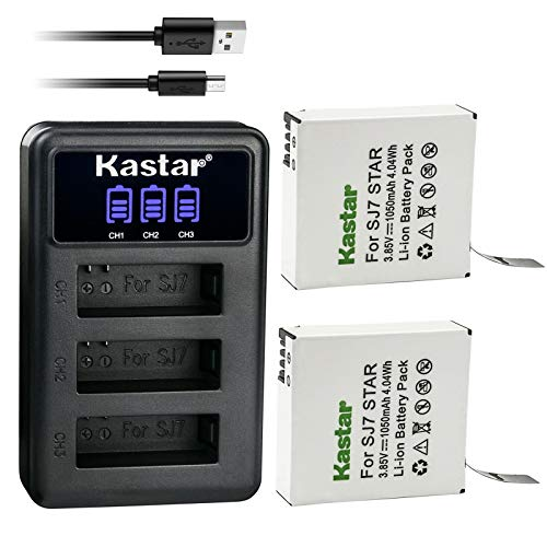 Kastar 2 Pack Battery and LCD Triple USB Charger Compatible with SJCAM SJ7 Star SJCAM SJ7B Battery and Charger, SJCAM SJ7 Star Sport Camera, SJCAM SJ7 Star 4K Ultra HD Action Camera