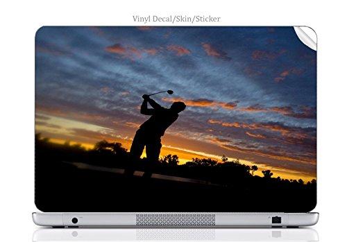 Laptop VINYL DECAL Sticker Skin Print Sunset Swing Golfer Hitting Golf Ball into Sunset fits MacBook Air 13(2008/2009) ()