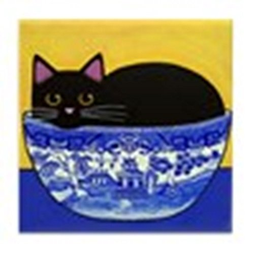 CafePress Black CAT Blue Willow Bowl Art Tile W/No Margin Tile Coaster, Drink Coaster, Small Trivet ()