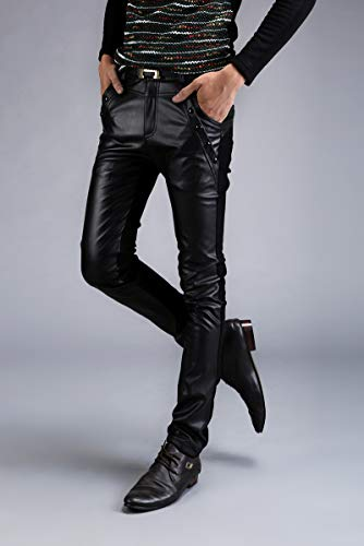 Velluto Giuntura Caldo Xsqr Di Inverno Maschi Mantieni Black Pantaloni Pelle Casual Locomotiva Pu Discoteca Più UUPzWOn