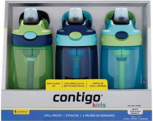 Contigo Kids Autospout Gizmo Water Bottles, 14oz (Green/Vert/Verde)