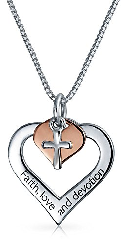 AYLLU Engravable Heart Cross Pendant Rose Gold Plated Sterling Silver Necklace 18 Inches