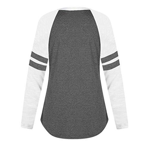 Femmes Noir Longues Tops Manches T MORCHAN Shirt Dames Chat Blouse Impression F1Adv