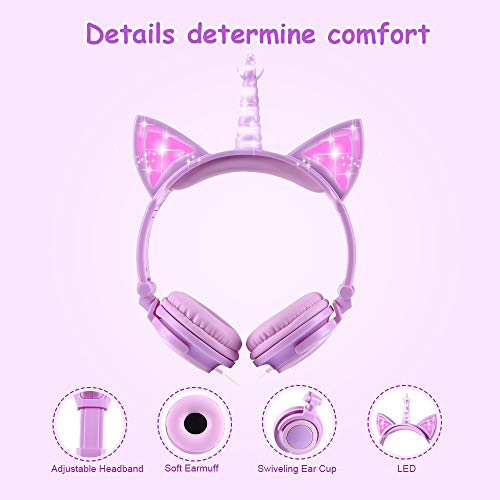 sunvito Unicorn Headphones for Kids, Foldable Kids Headphones with LED Glowing Light and 3.5mm Jack for School Birthday Gifts (Light Purple)