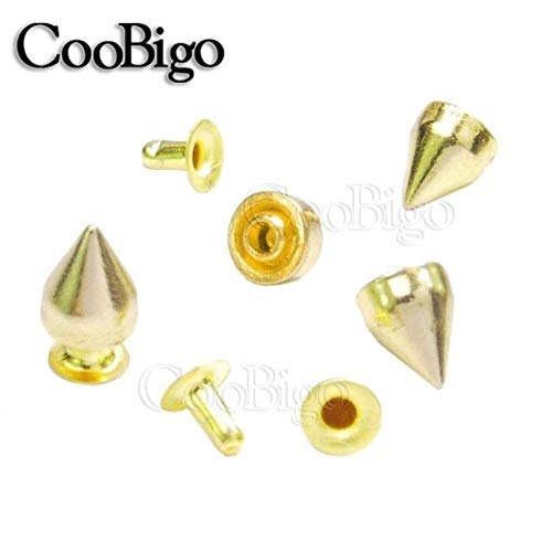 Leather Rivets - 50set 9x7mm Cone Rivet Bullet Spikes Studs DIY Punk Rock Bag Shoes Cloth Pet Collar Harness Bracelet Leathercraft Parts #GZ025-9 (Gold)
