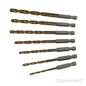 Silverline - Juego de brocas de cogida hexagonal de 6,35 mm (7 unidades, 3 - 6,5 mm)