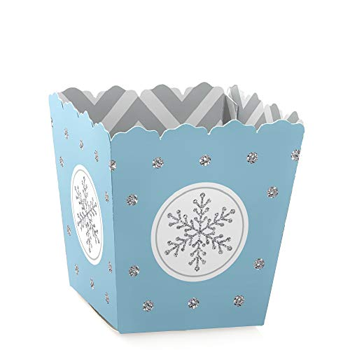 (Winter Wonderland - Party Mini Favor Boxes - Snowflake Holiday Party & Winter Wedding Treat Candy Boxes - Set of 12)