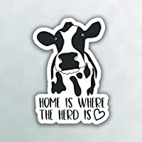 More Shiz Home is Where The Heard is Cow Vinyl Decal Sticker - Car Truck Van SUV Window Wall Cup Laptop - One 5 Inch Decal - MKS0991