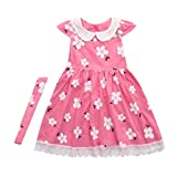 Veepola Kids Baby Girls Floral Printed Ruffle Sleeve Dresses Casual Dress (4T)