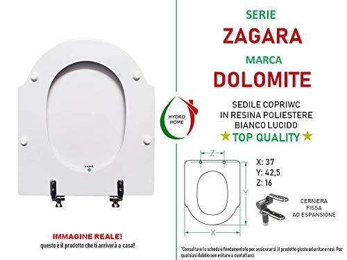 Asiento para inodoro Zagara Dolomite compatible lacado blanco brillante poli/éster
