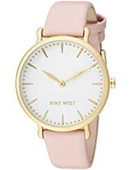 Nine West Womens NW/2110WTPK Gold-Tone and Light Pink Strap Watch