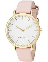 Nine West NW2110WTPK Reloj Análogo para Mujer, color Blanco/Rosa