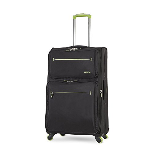 """IFLY Soft Sided Luggage Accent 28"""", Black And Green"""