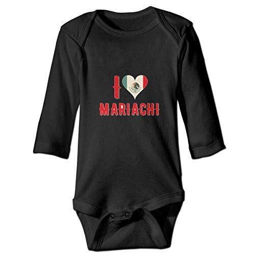 I Love Mariachi Baby Long Sleeve Bodysuits Black