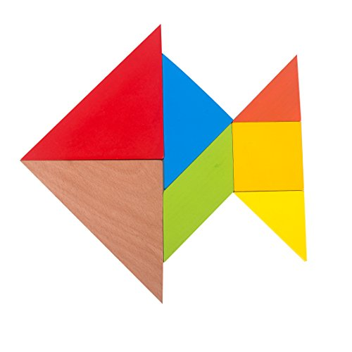GYBBER&MUMU 7 Piece Colorful Wooden Tangram Puzzle Set For Kids Toys