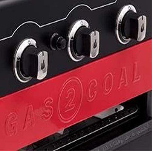 Barbecue hybride Char-Broil Gas2Coal 440 - Barbecue à gaz et charbon à 4brûleurs, finition noire.